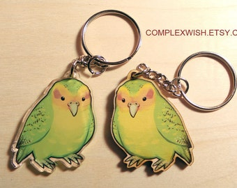 wood or acrylic Kakapo the flightless parrot key chain