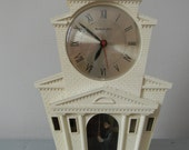 RESERVED****Master Crafters Mid Century Modern Bell Ringer Mantel Clock Made in USA