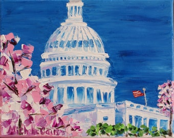 Original Oil Painting United States Capitol Washington D.C. in the Spring Cherry Blossoms Impasto technique on canvas by Michelle Cain