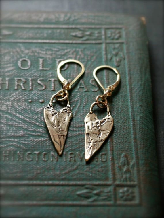 Long Gold Heart Earrings, Golden Bronze and Gold Filled Dangles - Everyday Casual Baubles