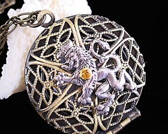 Scottish Lion Necklace Compass Necklace Medieval Lion