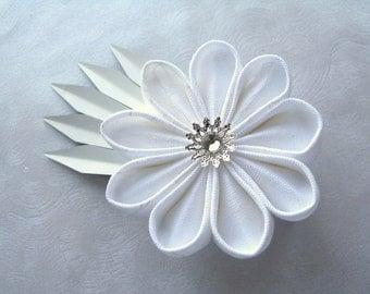 Shards of Winter Kanzashi Flower Fascinator Hair Clip