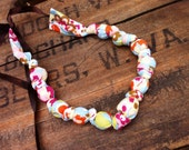 Ready to Ship - On Sale - Beaded Fabric Necklace