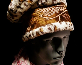 Hat Gold Brown Embroidered Antique Velvet Spotted Animal Faux Furry Slouchy Beret Fun Dreads Unisex Mens Womens Hat