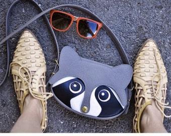 Raccoon bag / Leather bag / animal bag /  Women Bags / Handmade / Leather Purse / Leather Shoulder Bag / Lady's Handbags