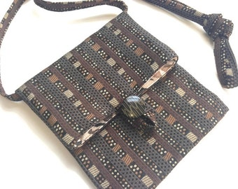 Small Shoulder Bag Brown Black Rust Cream Upholstery Fabric Purse Small Sac Small Pouch Travel Purse Passport Bag Essentials Bag