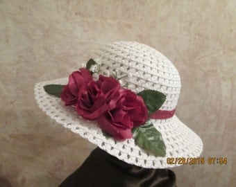 Girl's Easter Hat - Burgundy and White Hat for Girls - Girls Derby Hat - Girls Tea Party Hat