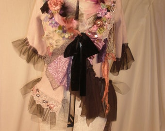 Art to Wear Sweater Jacket The Vineyard Art to Wear Cinderella Hippie Boho with Vintage Lace and My Artwork