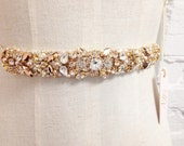 Rose Gold and Blush Crystal Bridal Belt- Custom- Swarovski Crystal Bridal Sash- One-of-a-Kind Hand-Beaded -Vintage Glamour