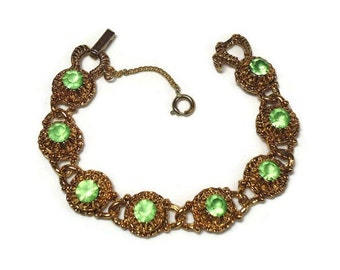 60s Gold Rhinestone Bracelet with Green Givre Chaton Cut Crystals Pave Set in Filigree Chain Link Motif - Vintage Circa 60's Costume Jewelry