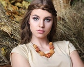 Orange necklace with crocheted and fabric beads Fall necklace