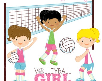 Girls Volleyball Cute Digital Clipart - Commercial Use OK - Volleyball Graphics, Volleyball Clipart - INSTANT DOWNLOAD