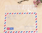 15 French Airmail Transparent Envelopes - L size (6.4 x 4.5in)