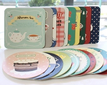20 Hard Paper Coasters Sets / Circle & Square - Cafe Anne Dessert (3.9in)