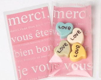 30 Merci Cellophane Bags - Pink (3.5 x 5.9in)