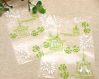 20 Green Bird Cage Cellophane Bags (4.7 x 7in)