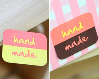 64 Handmade Two-tone Square Stickers (1.4 x 1.1in)
