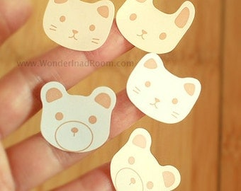 24 Rabbit / Cat / Bear Face Stickers - White & Beige (1 x 1in)