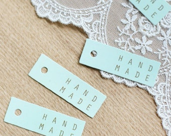 20 Handmade Square Tags - Mint (1.8 x 0.6in)