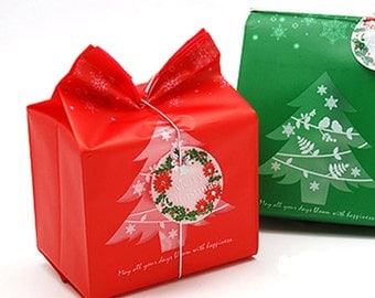 10 Christmas Tree Plastic Bags - Red (3.7 x 7.9in)