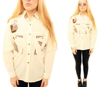 JAGGER 80s White and Chocolate Brown Abstract Geometric Shape Patches Adventure Hiking Alps Retro Folk Blouse Small Medium