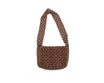 CRUSH 70s Earthy Retro Brown Beaded Seed Beads Tiny Small Messenger Bag Satchel Purse Handbag Indie Newsie New Age Square Strap Flap Over