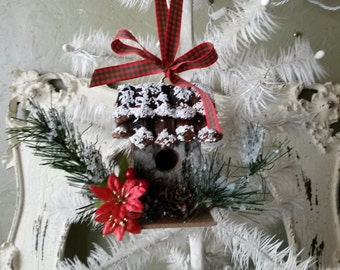 Rustic Christmas ornament birchwood mini birdhouse decor woodland christmas wood ornament country cottage Chic decor natural home decor
