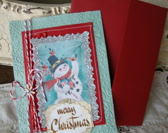 Christmas card vintage Snowman red and mint green vintage style paper art card glittered stitched card Cottage Christmas vintage sheet music