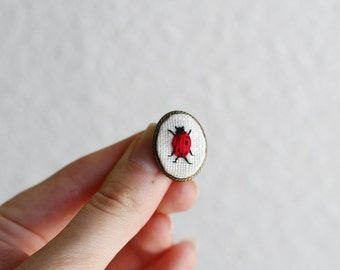 Specimen No. 4 Ladybug- hand embroidered brooch, pin, lapel pin, bug, insect, entomology, red, spotted
