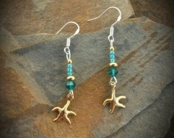 Gold Green Starfish Sterling Silver Dangle Earrings, Gold Starfish Green Sterling Silver Earrings