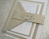 1943 Vintage Wedding Invitation Suite with Belly Band - Champagne Gold, Black and Ivory - Colors are customizable