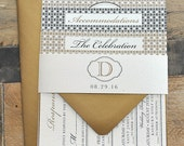 Grant Art Deco Print Wedding Invitation Suite with Belly Band - Antique Gold, Black and Ivory (all colors are customizable)