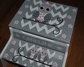 Children's Custom Hand Painted - Chevron - Owl - Girls Step Stool - Baby Shower Gift - Nursery Furniture - Child's Step Stool