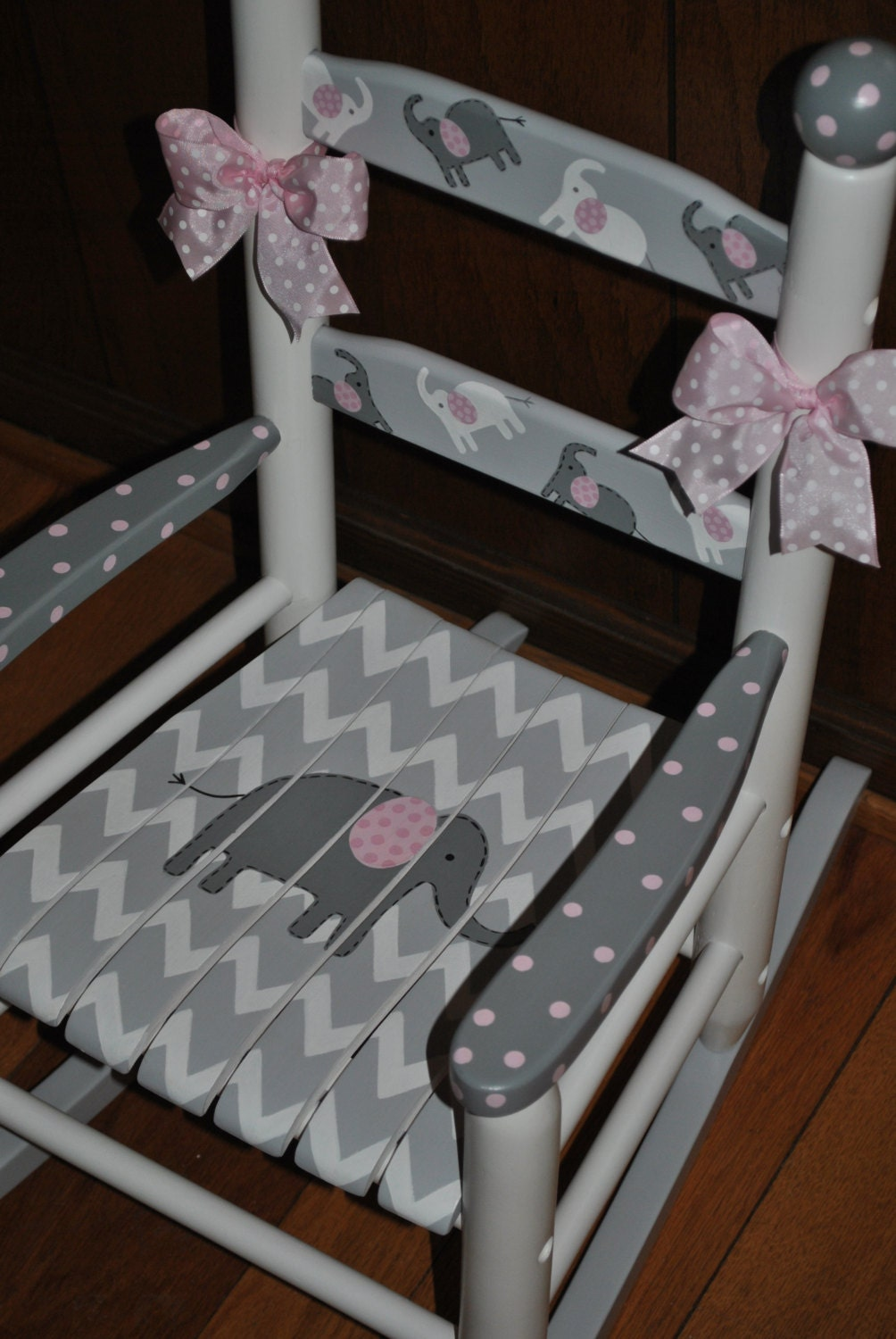 Childrens Custom Hand Painted Chevron Pink