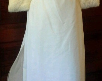 Vintage 1960's White VELVET Wedding Gown