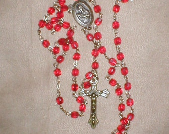 Vintage 1960s Red Crystal Rosary