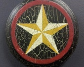 Mini Painted Barn Star - White, Gold, Red, & Black on Circular Wood