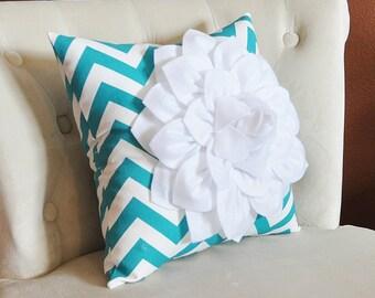 PILLOWS -- Home Decor Pillow, Turquoise Chevron, Baby Nursery Decor, 14 x 14 Filled Pillow