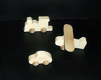 20 Handcrafted Wood Toy Trains, Planes and Cars BP-502AH-U unfinished or finished