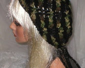 Crochet Women's Camouflage Black Slouchy Hat Beret Slouch Hat Fall Fashion