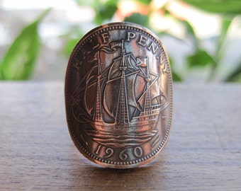 Britain Half Penny Unisex Womens Mens Large Coin Ring with Copper Band MADE TO ORDER.