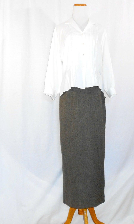 womens skirts pencil skirt brown wool tweed by