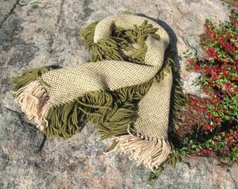Rustic Woodland Green Hand Woven Wool Fringe Scarf, Natural Mori Kei Mens Womens Fall Winter Fashion Scarf, Handmade Handwoven Green Beige