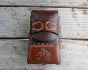 Leather Cigarette Case with Horse