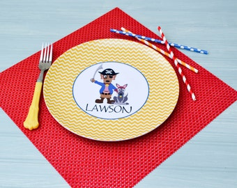 Personalized Melamine Plate / Personalized Pirate Dog Plate Yellow / Personalized Plates for kids / Kids Personalized Plate