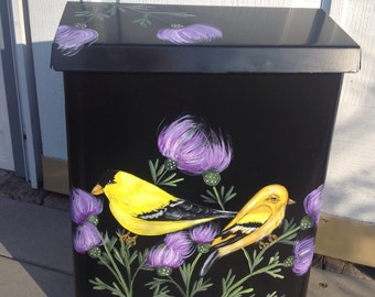 HAND painted wall mount MAILBOX Goldfinches, Thistle, UV Resistant, vertical, horizontal, black or white, large or standard
