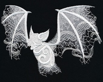 Gothic Ghost Bat embroidered on a Cotton Kitchen Towel
