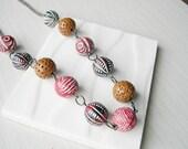 Ceramic Bead Neckace - Chunky Jewelry, Boho, Long, Funky, Earthy, Red, Black, Brown, Tribal Style