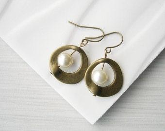 Brass Pearl Drop Earrings - Bridal Jewelry, Gold Toned, Ivory, White, Grey, Dangle, Mod, Mid Century, June Birthstone
