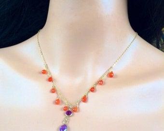 Sale Carnelian Amethyst gold necklace.  Delicate Jewelry.